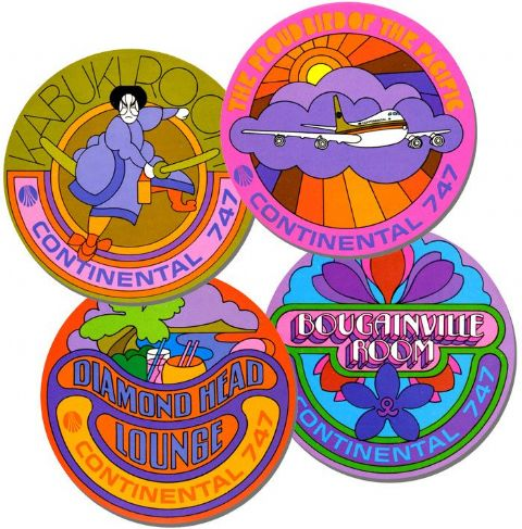 Psychedelic  Coasters Set Of 4. Vintage Continental 747 Reproduction. High Quality Cork. Travel